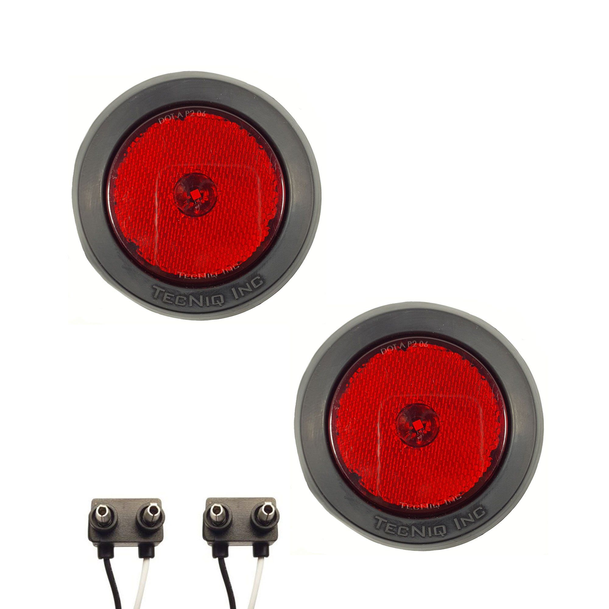 Pair of 25 Round Red LED ClearanceSide Marker Lights with