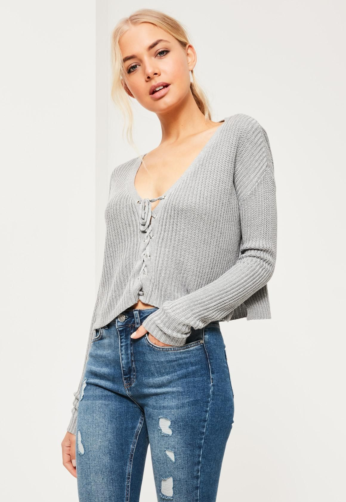 Missguided - Grey Slouchy Knitted Cropped Lace Up Jumper ...