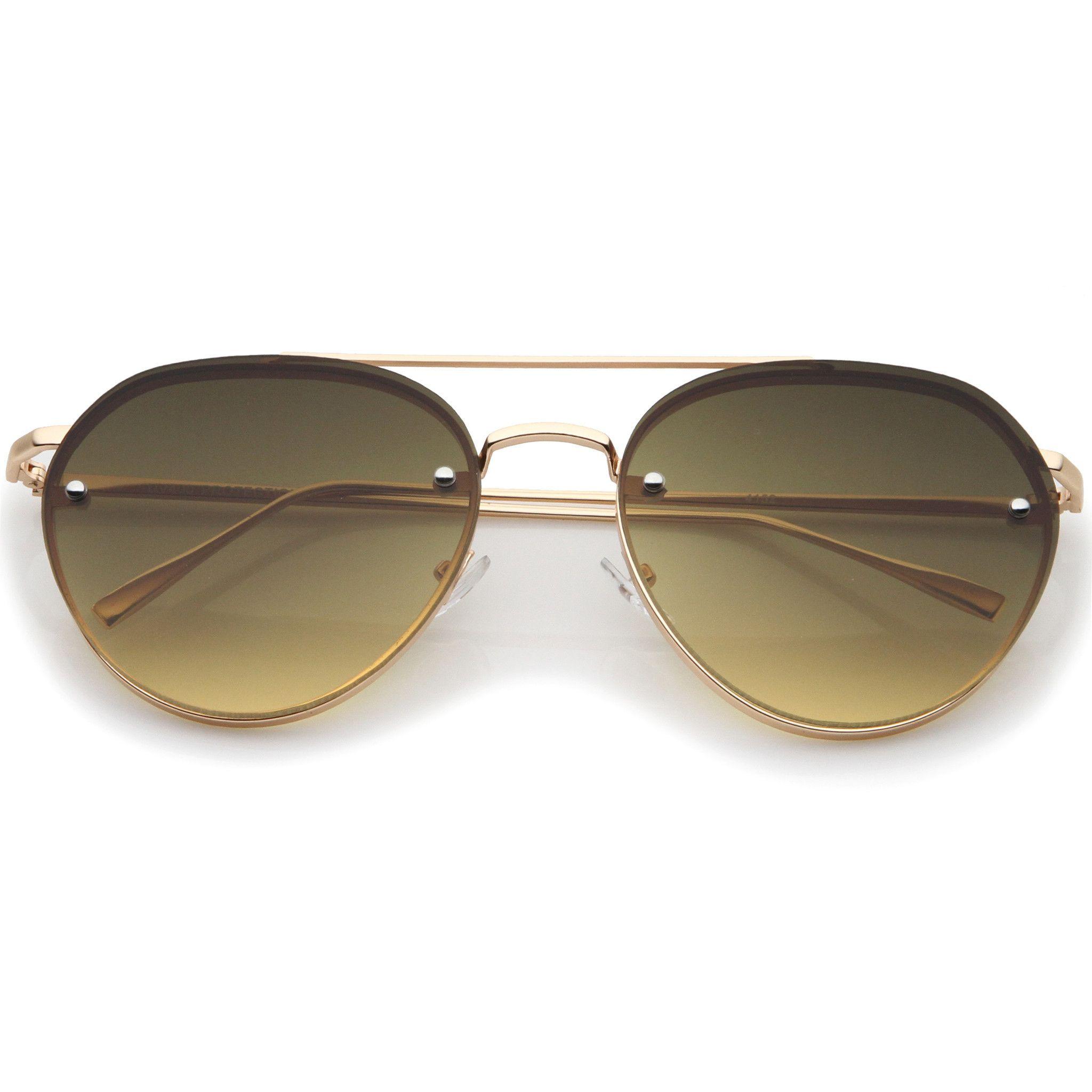 Gafas de Sol Aviador de Espejo Retro Oversized Semi-Rimless Anteojos Mujer Hombre Bgi2QE1uv