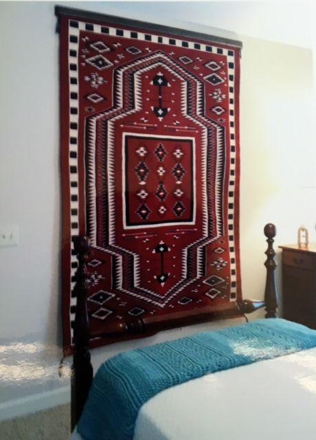 Navajo rug weaving hangs on the wall