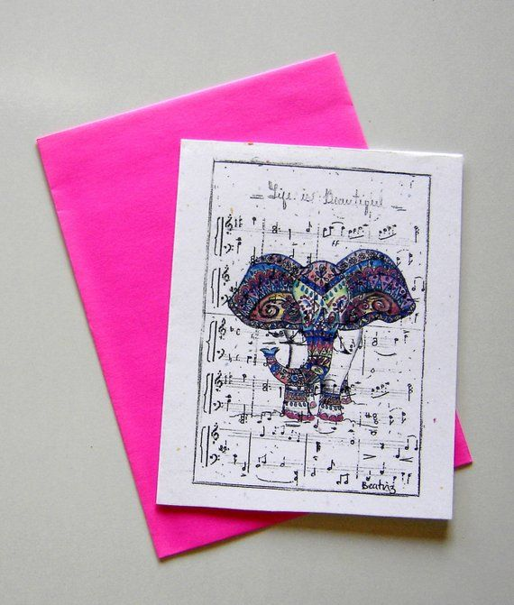 Elephant card greeting card music sheet fun music teacher plain gift elephant card greeting card music sheet fun music teacher plain gift birthday thank you card blank piano print party favor congrats prom m4hsunfo