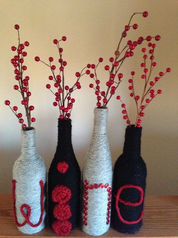 Wine Letters - Homemade Wine Bottle Crafts, http://hative.com/homemade-wine-bottle-crafts/,