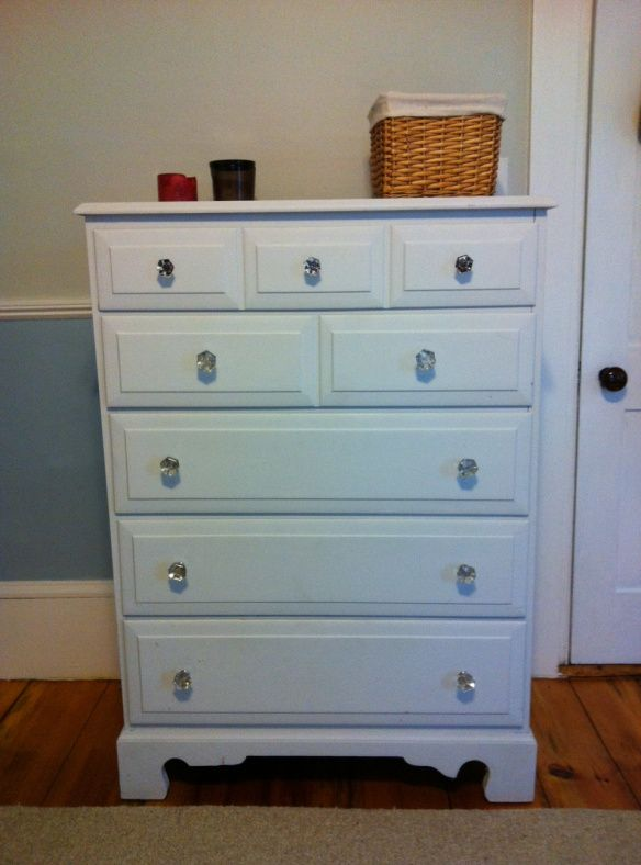 DIY Painted furniture / dresser with crystal knobs / drawer pulls ...