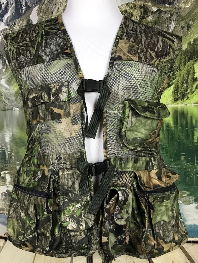 601beb6cda029 Fieldline Mossy Oak Camo Turkey Hunting Vest Seat Pockets Sz 2XL Orange  Safety | eBay