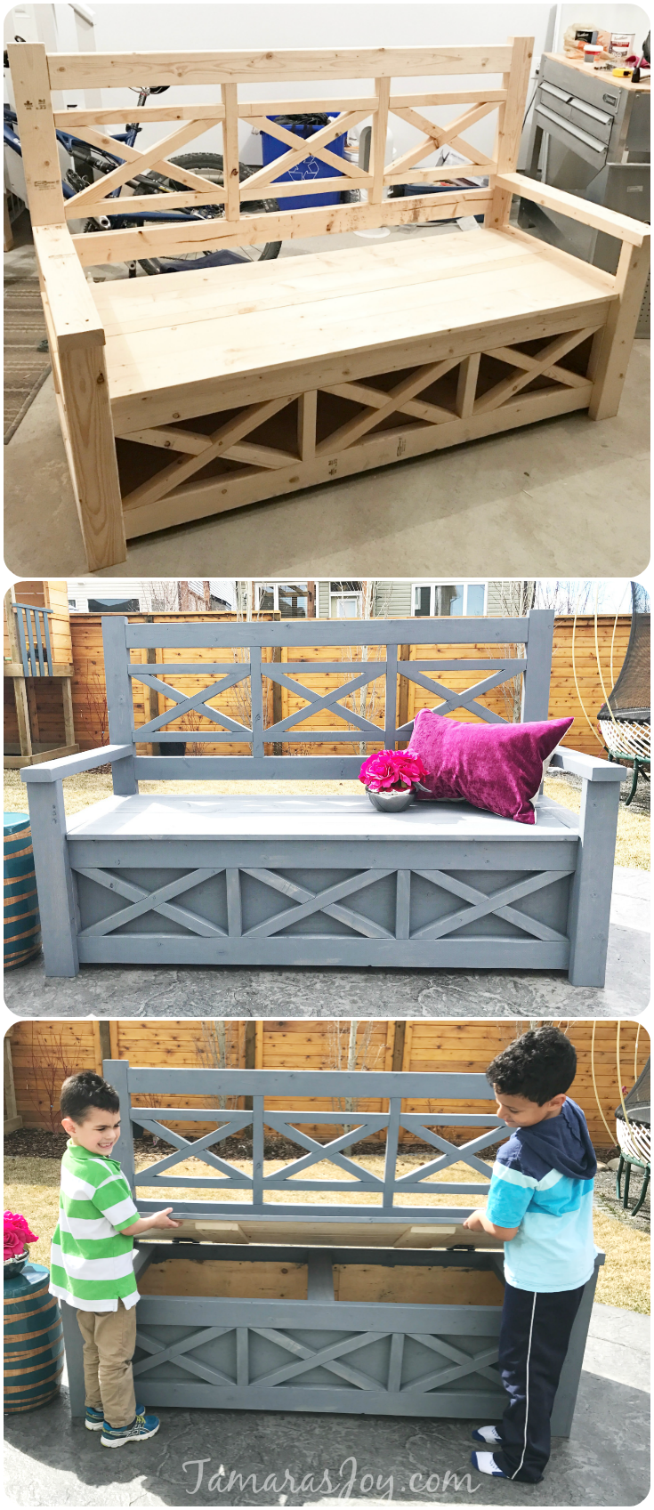 Outdoor Storage Ottoman Bench Part - 17: This Diy Outdoor Storage Bench Started From An Ana White Building Plan.  With A Few