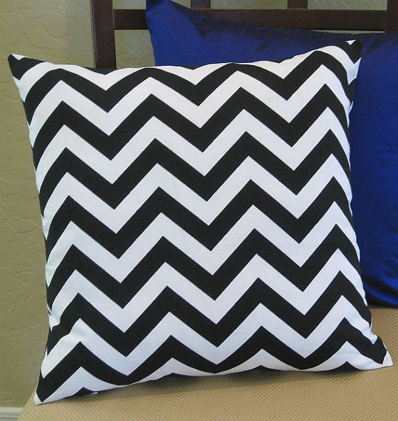 Outdoor Black and White Chevron Zig Zag Pillow by PillowPeels, $15.95