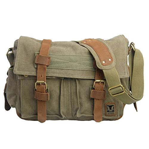 Jeansian Men S Womens Uni Canvas Messager School Hang Bag Bg092 Armygreen Co Uk Clothing