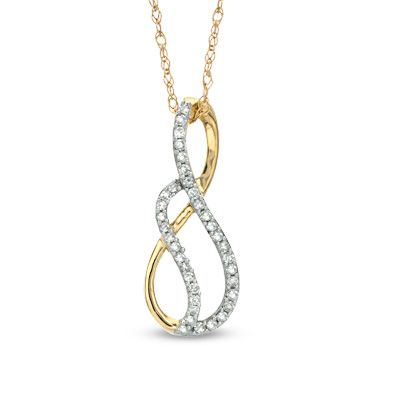 Zales 1/10 CT. T.w. Diamond Infinity Loop Pendant in Sterling Silver and 14K Rose Gold Plate dq5yH