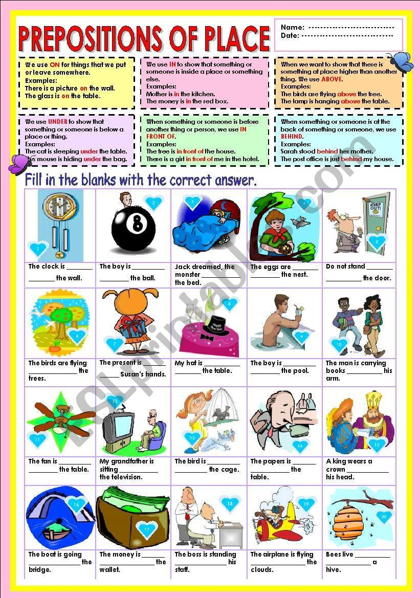 Prepositions On In Above Under In Front Of And Behind Prepositions Grammar Worksheets Worksheets [ 1169 x 821 Pixel ]