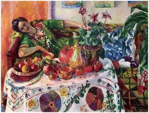 Jeanne Allongée sur un Canapé, precio en subastas de Henri Charles MANGUIN