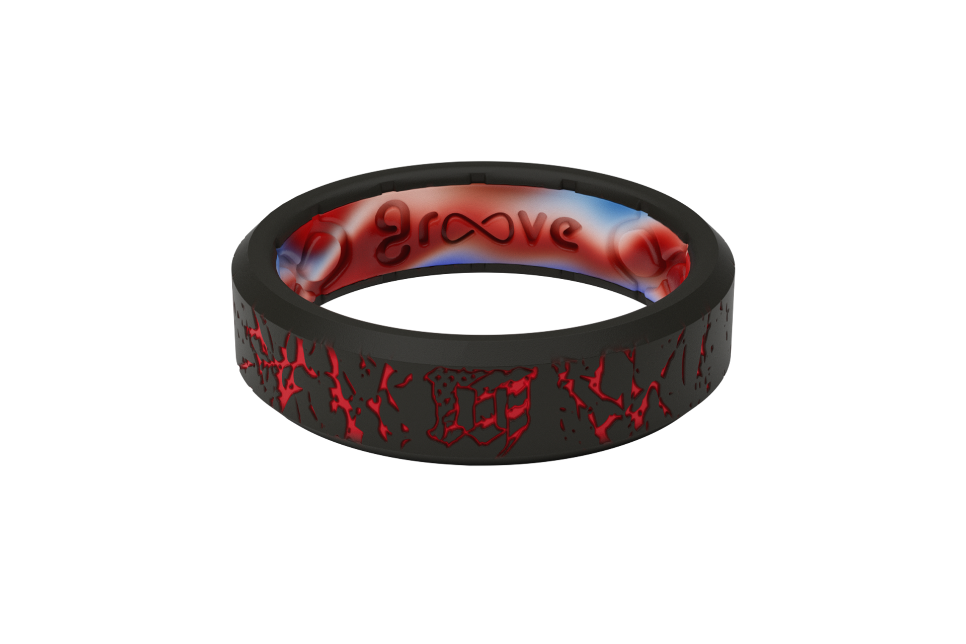 Thin Mayhem Fracture Red Silicone rings, Silicone
