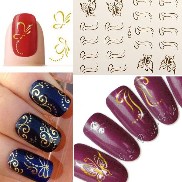 3D Golden Butterfly Bow Nail Art Stickers Line Dot Nail Deco   Nail ...
