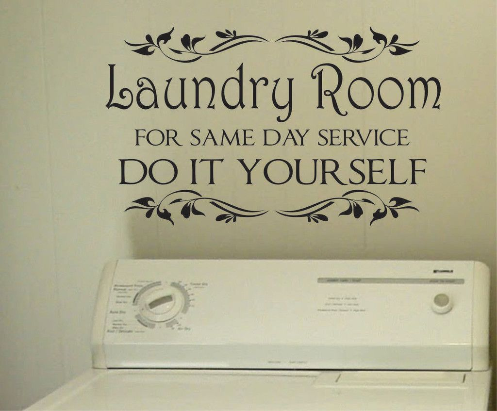Vinyl Laundry Room Sayings Laundry Same Day Service  Vinyl Decals  Wall Lettering  Laundry