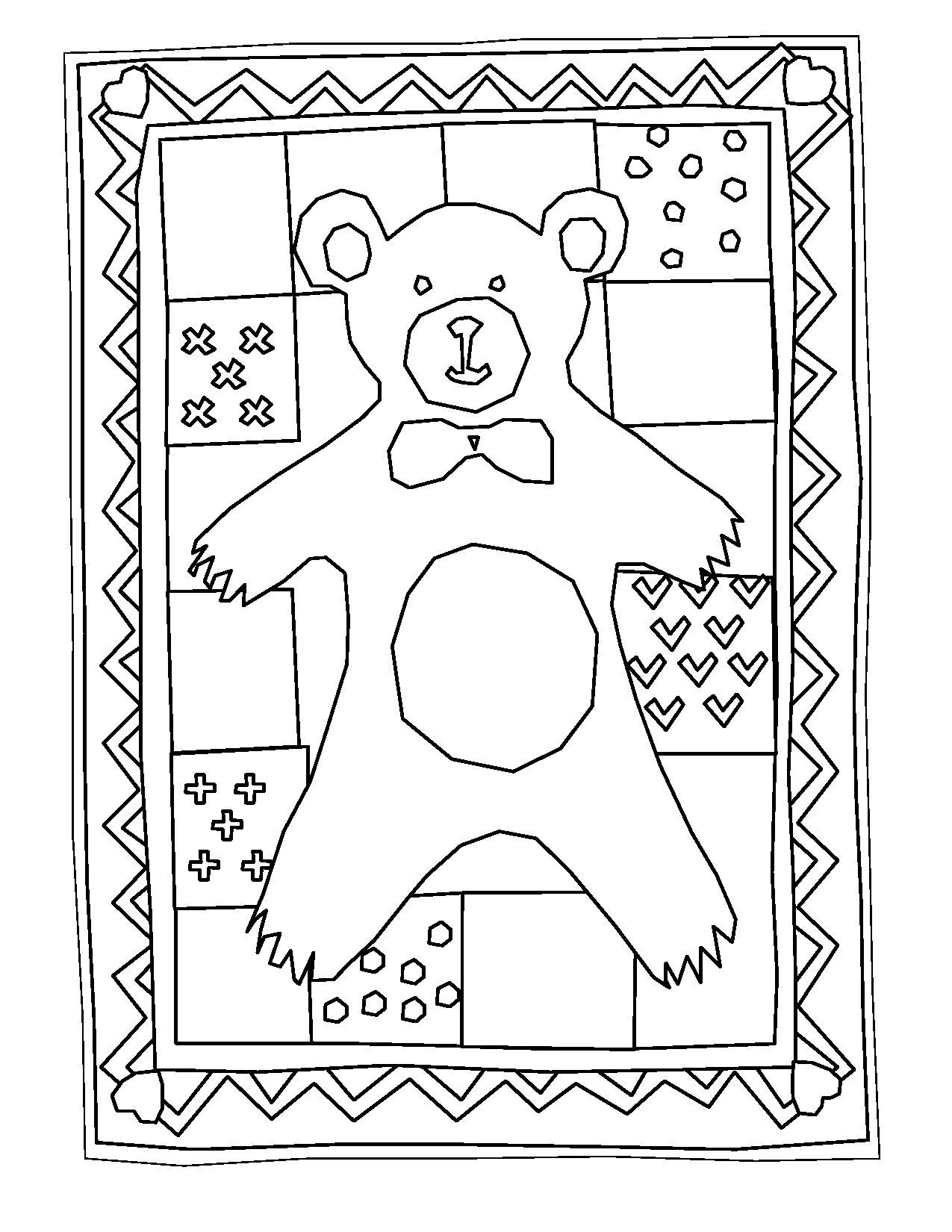 Teddy Bear Quilt | Bear quilts, Birthday coloring pages ...