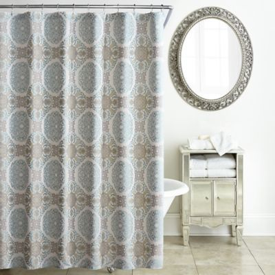 Waterford Jonet Shower Curtain In Cream Aqua Www