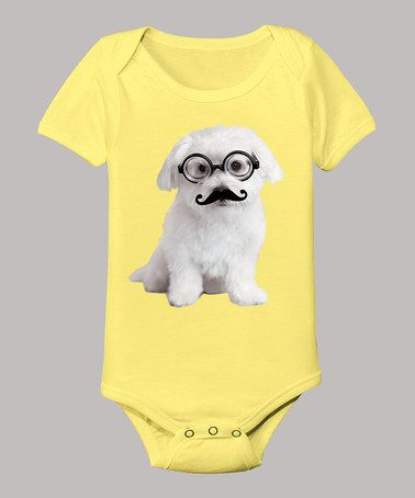 Take a look at this Banana Mustache & Glasses Puppy Bodysuit - Infant by Rachael Hale on #zulily today!