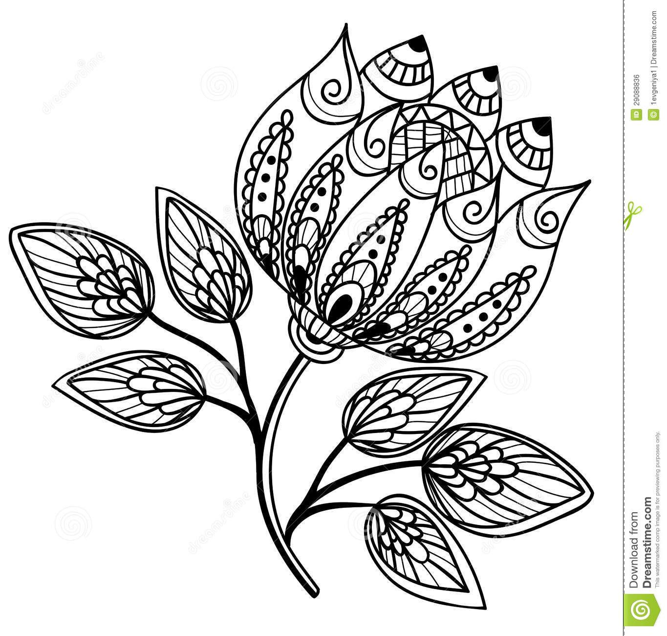 simple tattoo outlines | Beautiful black-and-white flower, hand ...