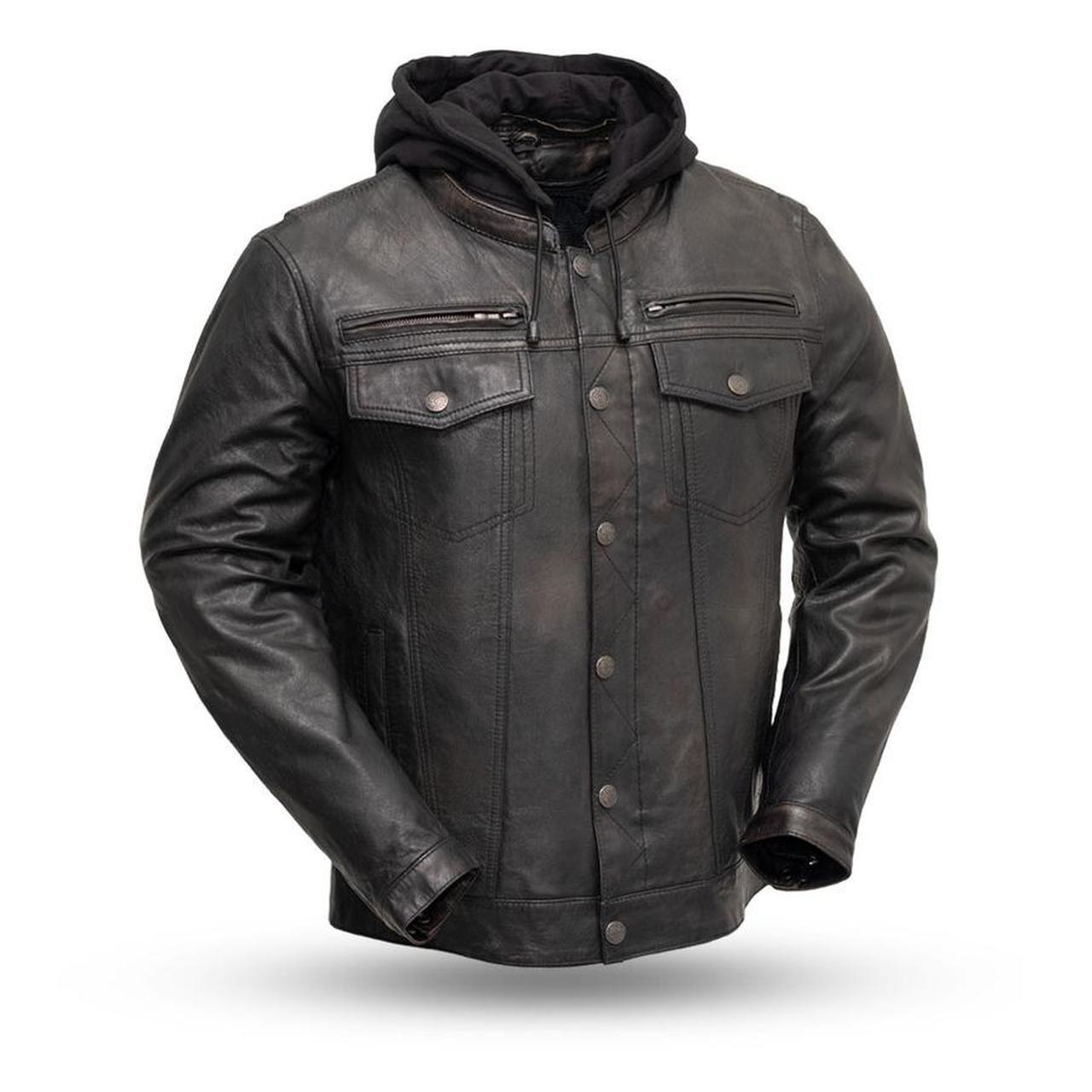 Veste en cuir pour homme First MFG avec sweat à capuche FIM276SDTZ (VENDETTA) – 2XL   – Products
