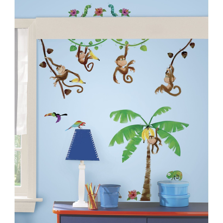 dschungel wandtattoo f r das kinderzimmer affen kinderzimmer dschungel safari. Black Bedroom Furniture Sets. Home Design Ideas