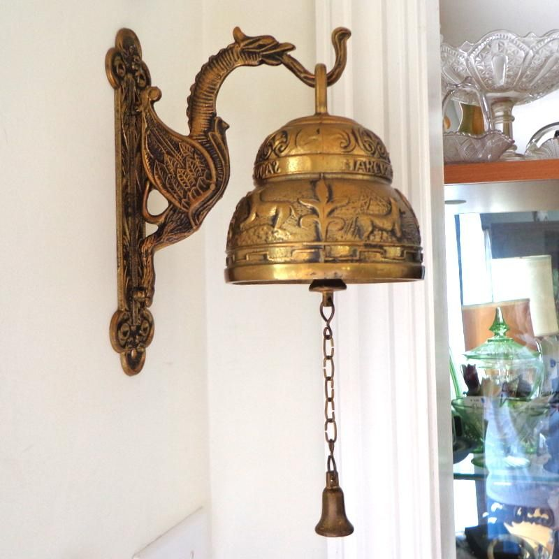 German Wall Mounted Decorated Large Brass Bell Mint Condition Wall Mount Brass Bells German Wall