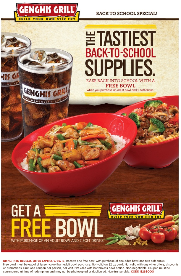 picture regarding Genghis Grill Printable Coupon referred to as Pinned September 15th: Minute bowl totally free with your beverages at