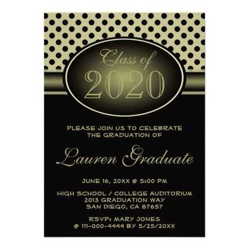 black yellow gold toned polka dot graduation announcement this