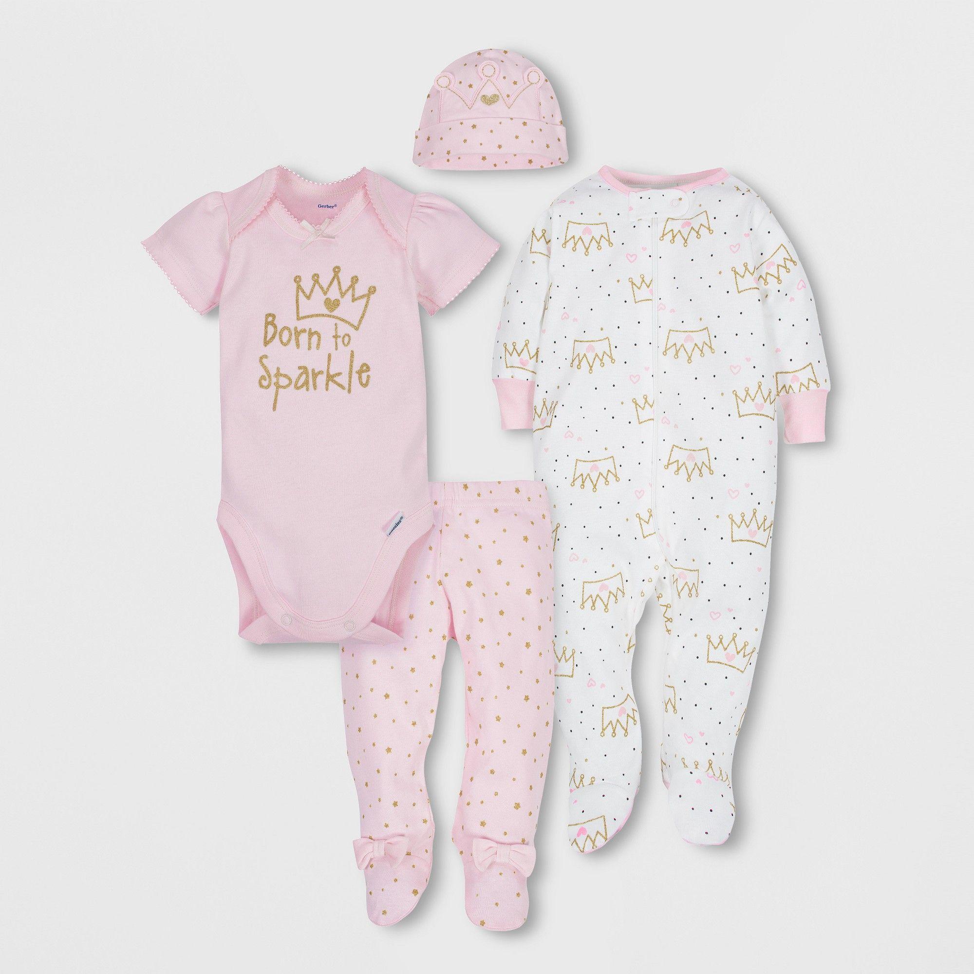 8b7fdd6cef7e Gerber Baby Girls' 4pc Short Sleeve Bodysuit, Long Sleeve Sleeper ...