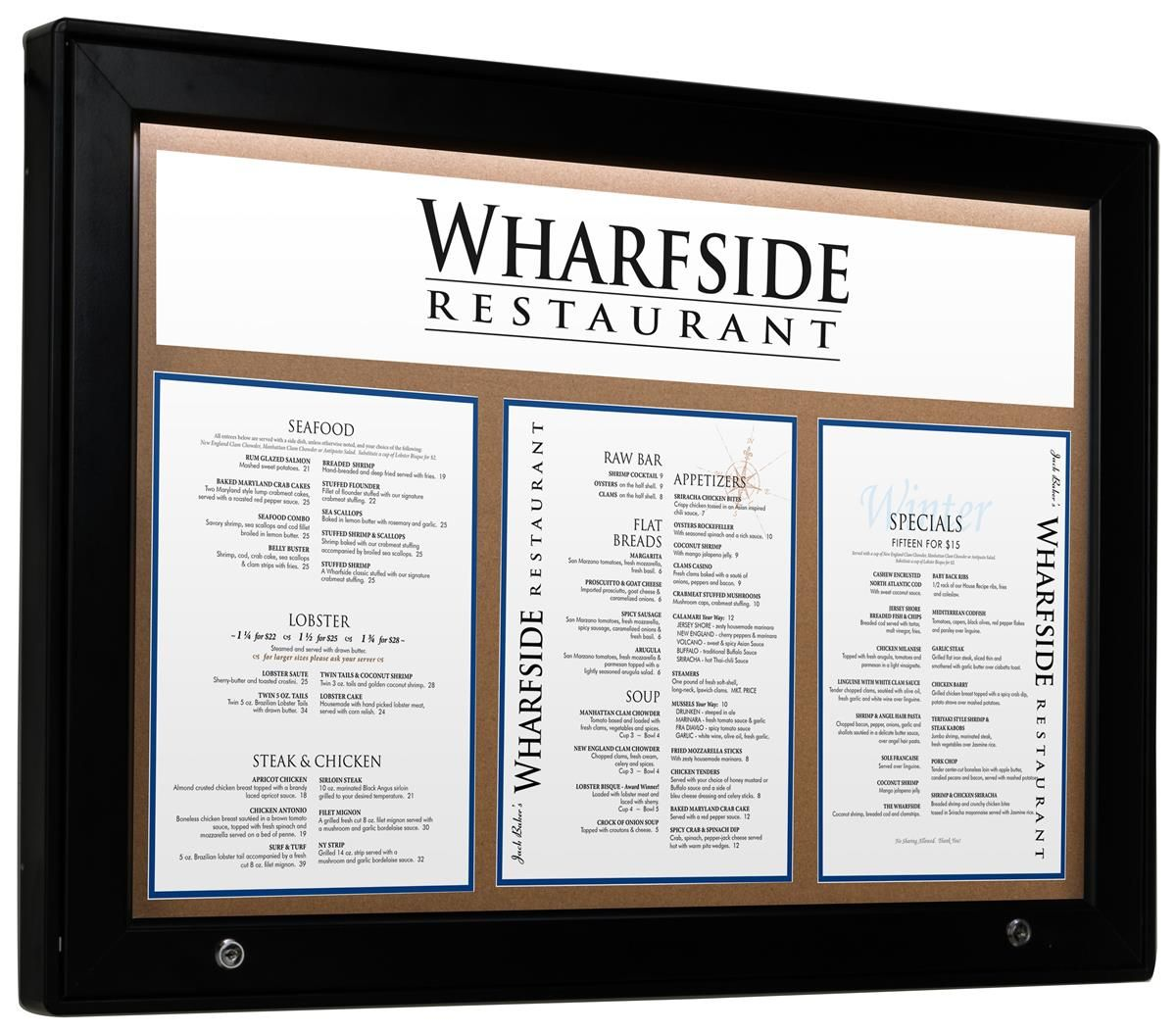36 X 26 Enclosed Cork Board For Outdoors Illuminated With Locking Door Black In 2020 Menu Board Restaurant Coffee Shop Menu Board Menu Board Design