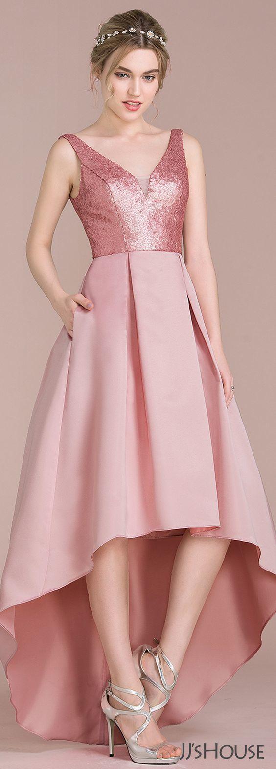 2751cf65bd62 A-Line/Princess V-neck, Asymmetrical Satin, Sequined Bridesmaid Dress,High  Low Prom Dress,Sexy Party Dress,Custom Made Evening Dress by prom dresses,  ...