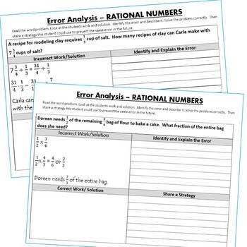 RATIONAL NUMBERS (Fractions and Decimals) Error Analysis (Find the