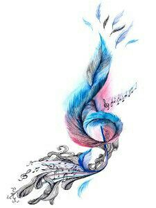 Water Colour Music Music Tattoos Feather Tattoos Tattoos