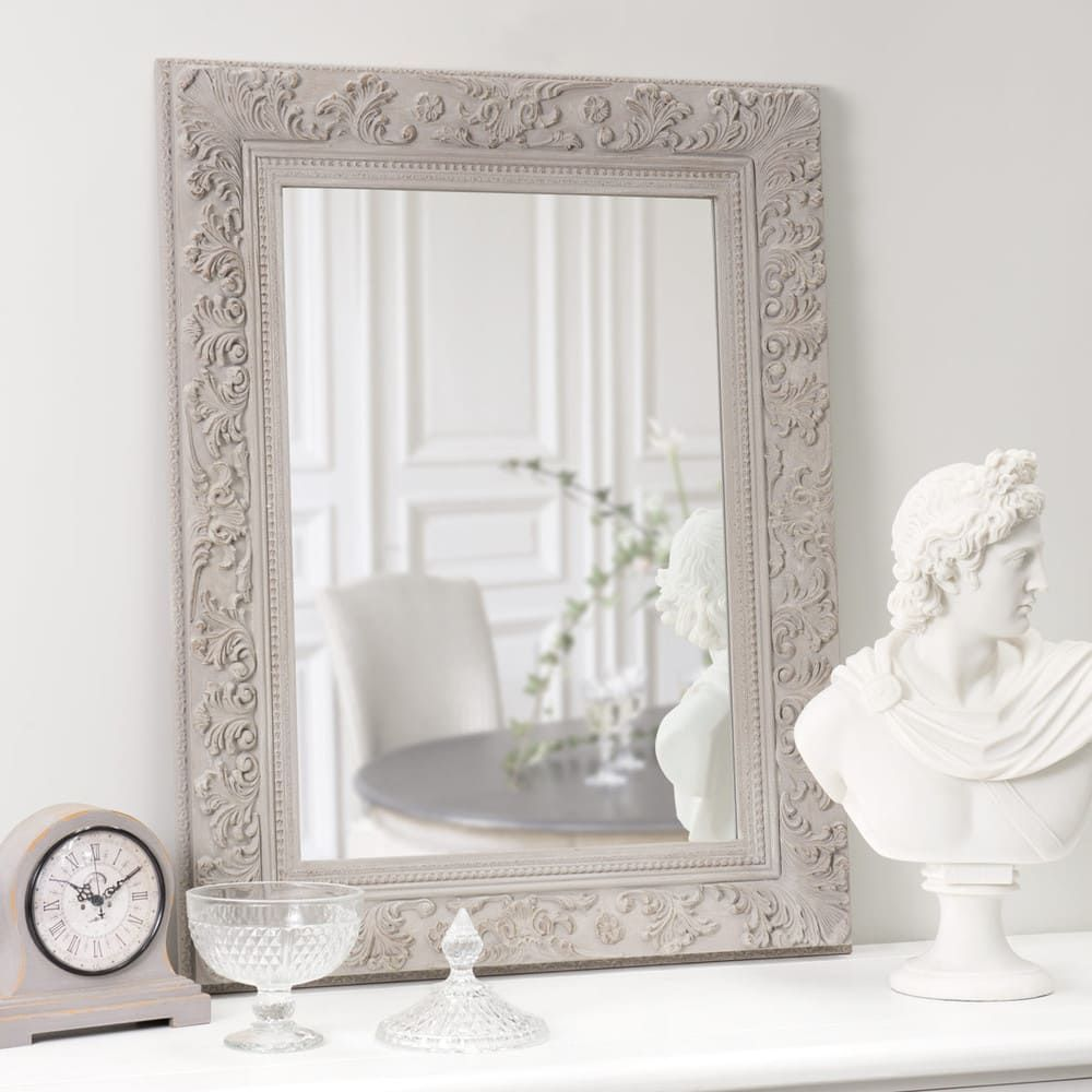Spiegel Paulownienholz 70x90 Beige Spiegel Holz Dekorative