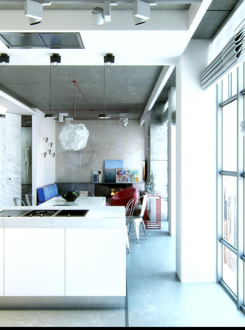 Industriedesignund Offene Küche Mit Wohnzimmer