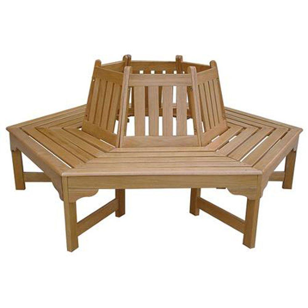 Beige Wooden Tree Hugger Wrap Around 6 Seat Bench Patio Garden