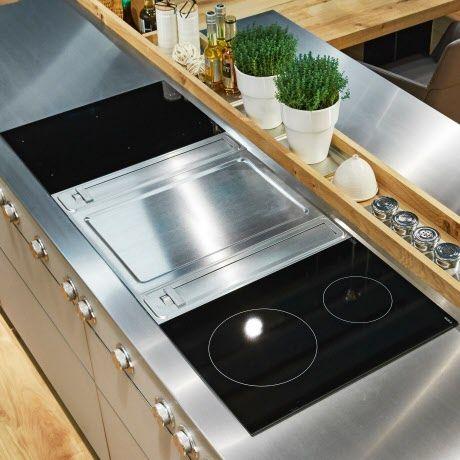 Edelstahl-Arbeitsplatte großzügigen Kochfeld mit integriertem - Arbeitsplatte Küche Edelstahl