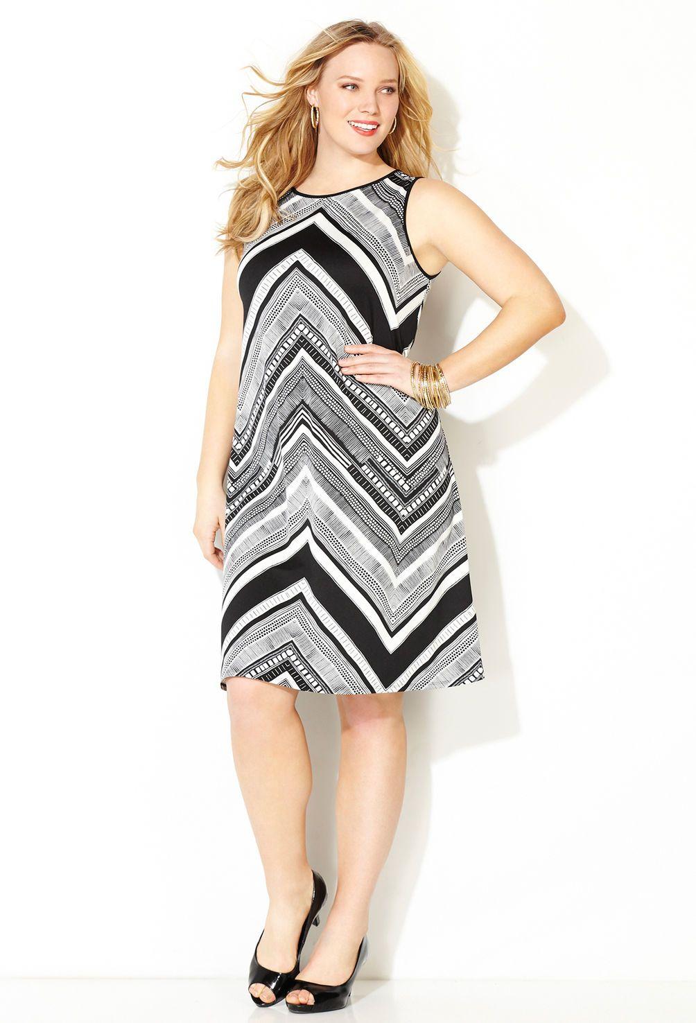 Black And White Chevron Print Sheath Dress Plus Size Dress Avenue