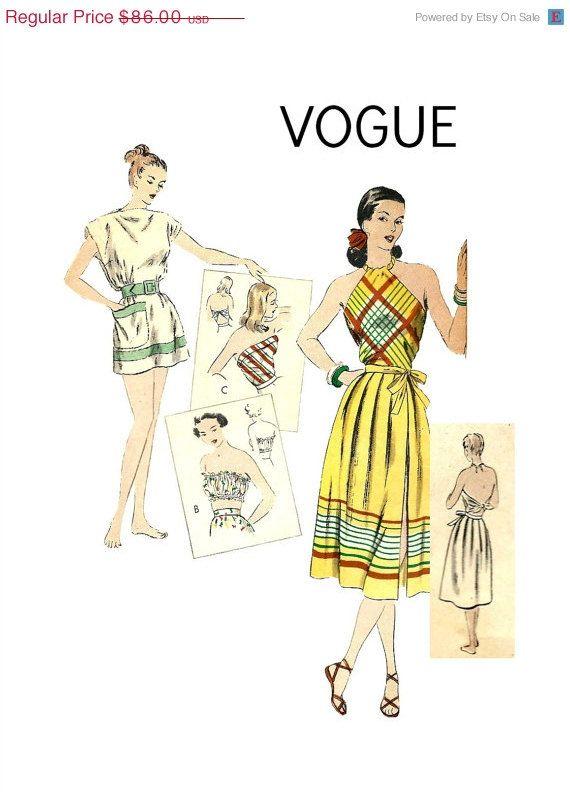FALLEN Sie Verkauf Vintage 50er Jahre Vogue 6081 Misses Open Back N ...
