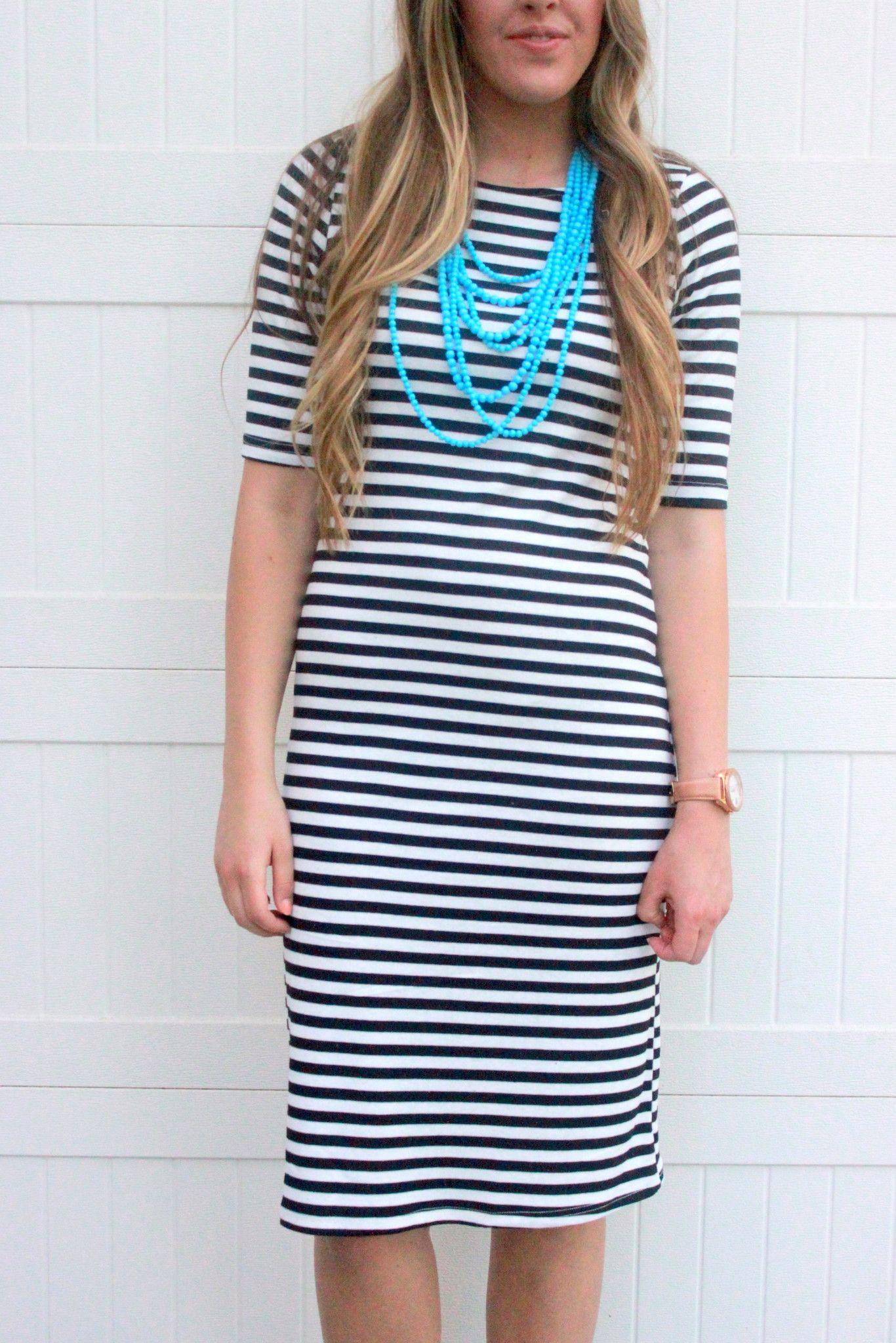Everyday Tee Dress: Black Stripe