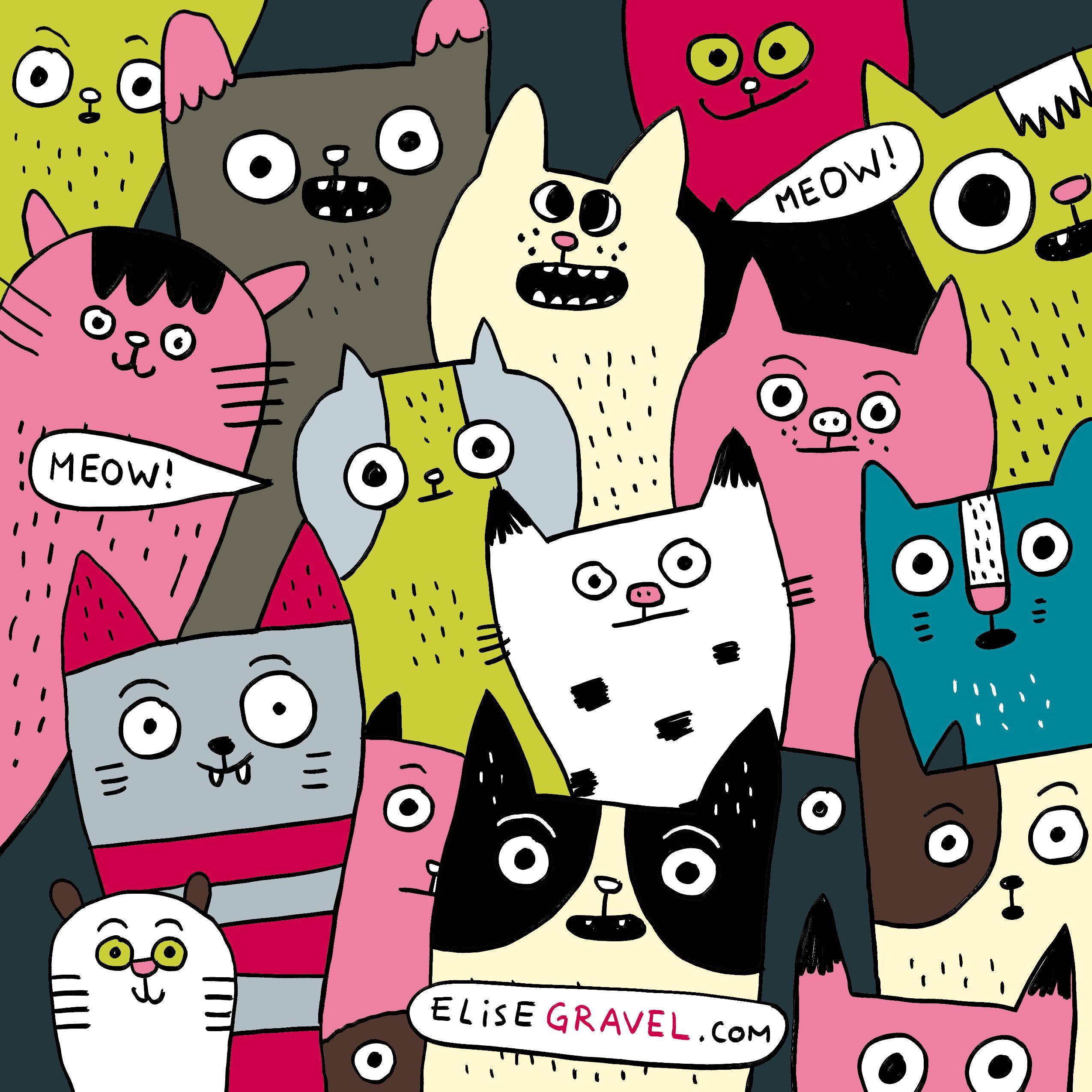 Elise Gravel Illustration Cats Katze Comic Tiere Malen