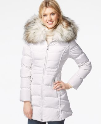 Laundry By Shelli Segal Faux Fur Hood Puffer Down Coat Coats