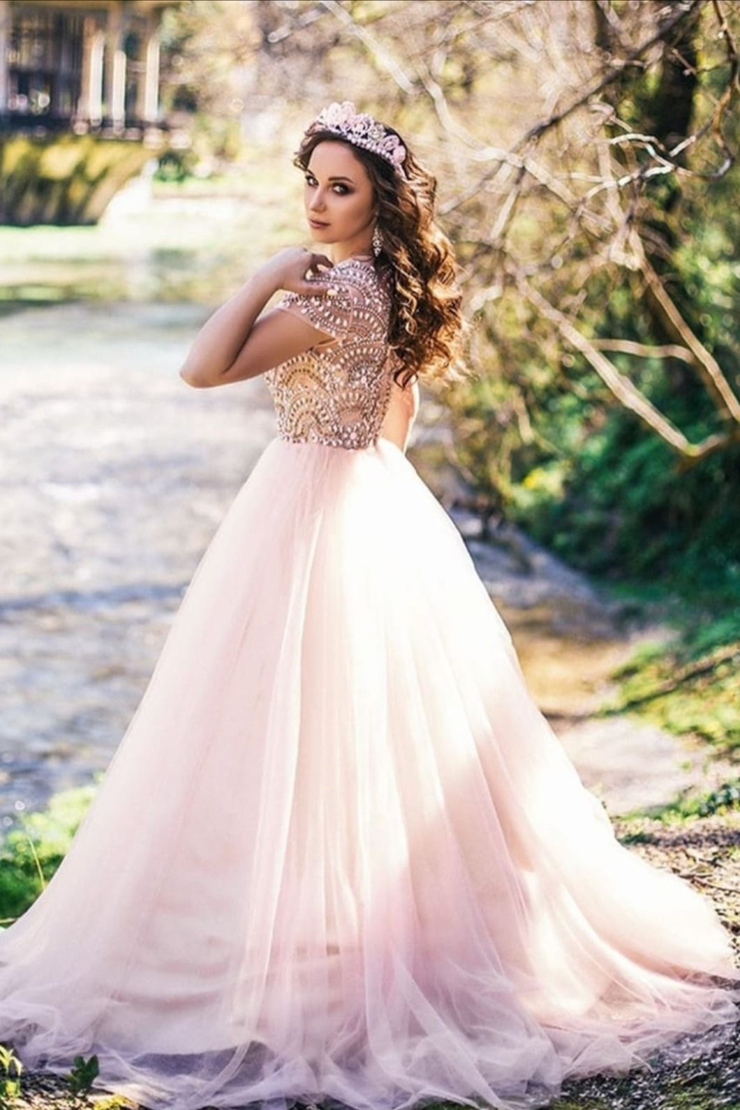 Cap Sleeves Beaded Long Pink Prom Dress in 2021 | Prom ...
