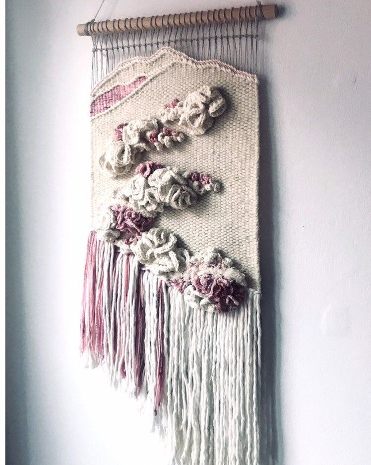 Neutral Woven Wall Hanging White Pink Woven Tapestry Wall Hanging Weaving Wall Hanging Macrame Wall Hanging Weaving Wall Hanging Tapestry Weaving Weaving