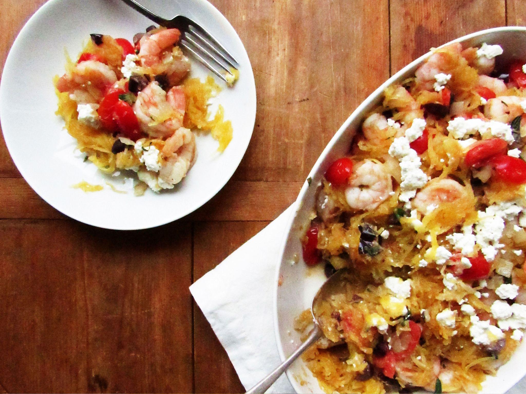 Greek style spaghetti squash with shrimp recipe greek recipes greek style spaghetti squash with shrimp forumfinder Choice Image
