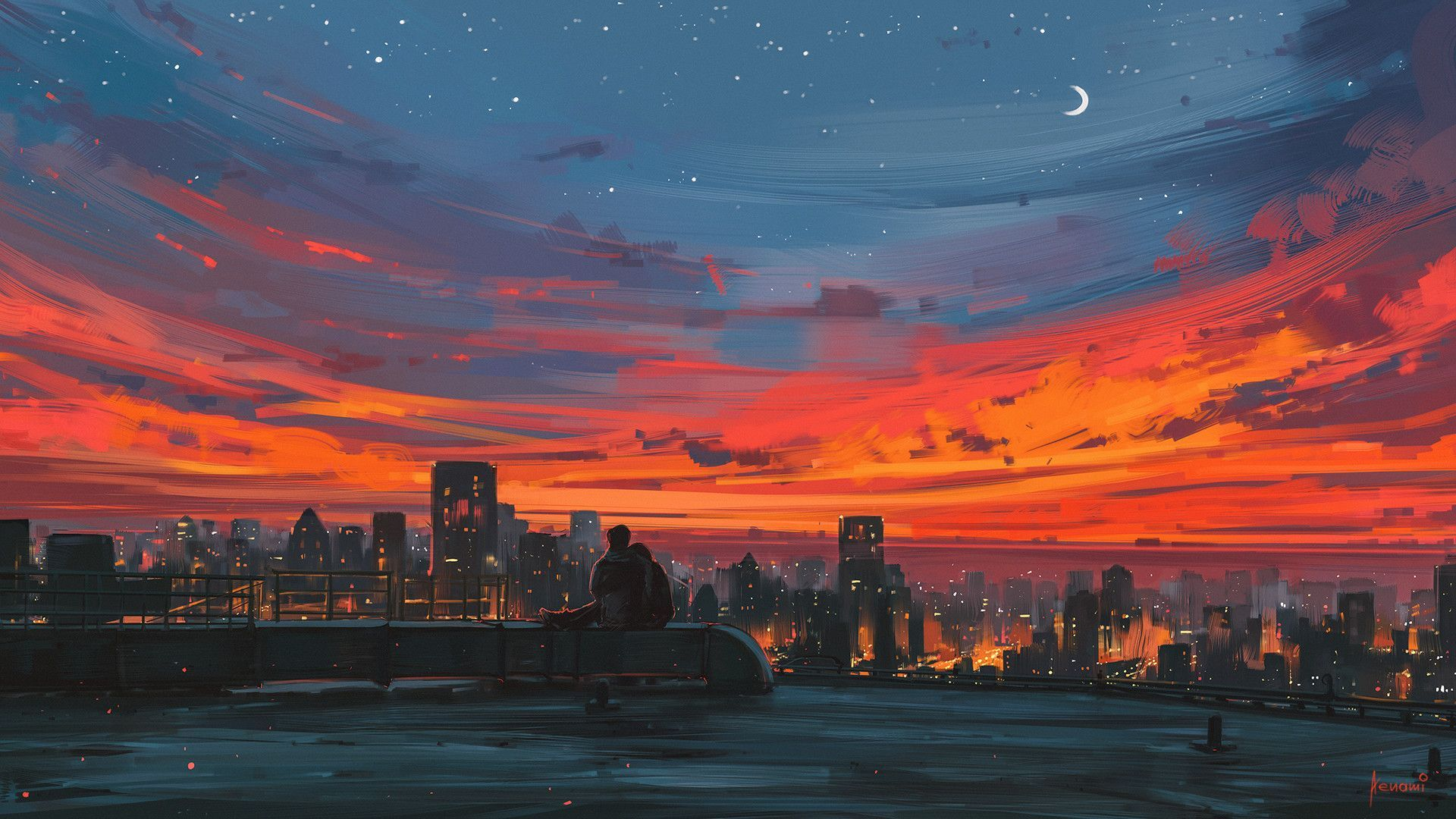 Aesthetic Sunset Anime Wallpaper Hd In 2020 Desktop Wallpaper Art Computer Wallpaper Desktop Wallpapers Scenery Wallpaper