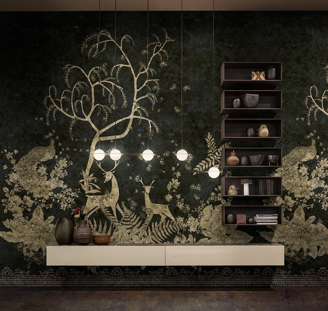 Art Déco Inspired Walls Golden glow, nature and geometry. GoldenWall Collection 2018 by Inkiostro Bianco