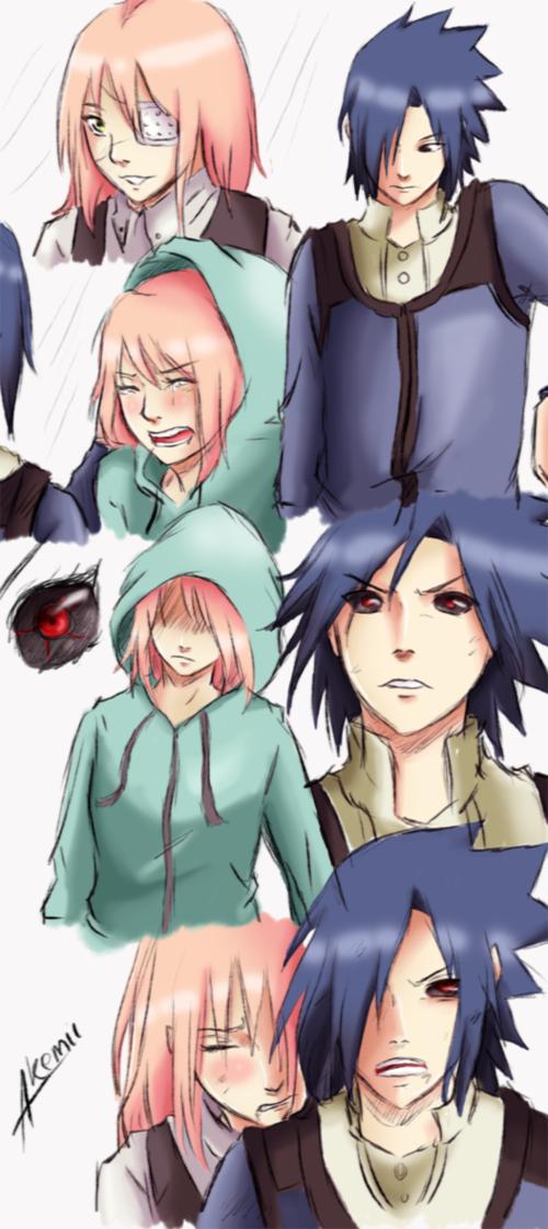 Naruto x Tokyo Ghoul crossover  Sakura as Kaneki and Sasuke as Touka
