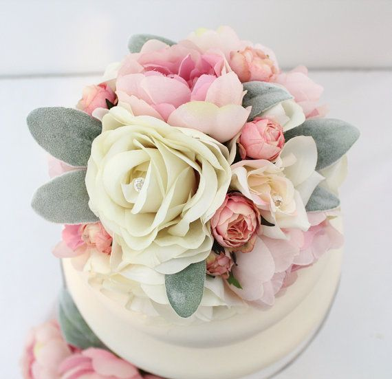 Wedding Cake Topper Rose Quartz Pink Peony Ivory Pink Rose Etsy Silk Flower Cake Topper Flower Cake Toppers Wedding Cakes With Flowers
