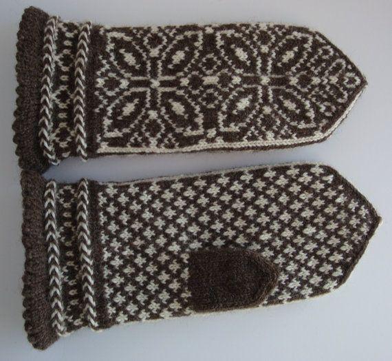 Hand Knit Fair Isle Mittens, Latvian Braid, Norwegian ...