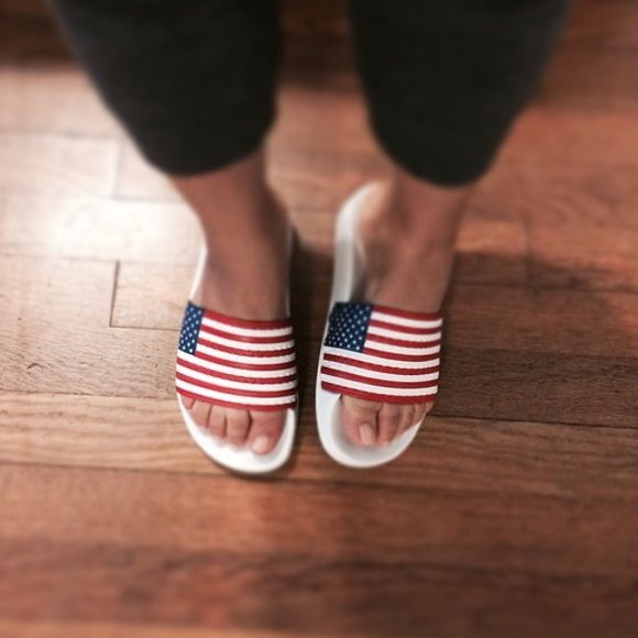 USA Adidas slides Awesome American flag slide sandals from Adidas. Gently  worn but in great condition. Adidas Shoes Sandals b2b7c8feb7