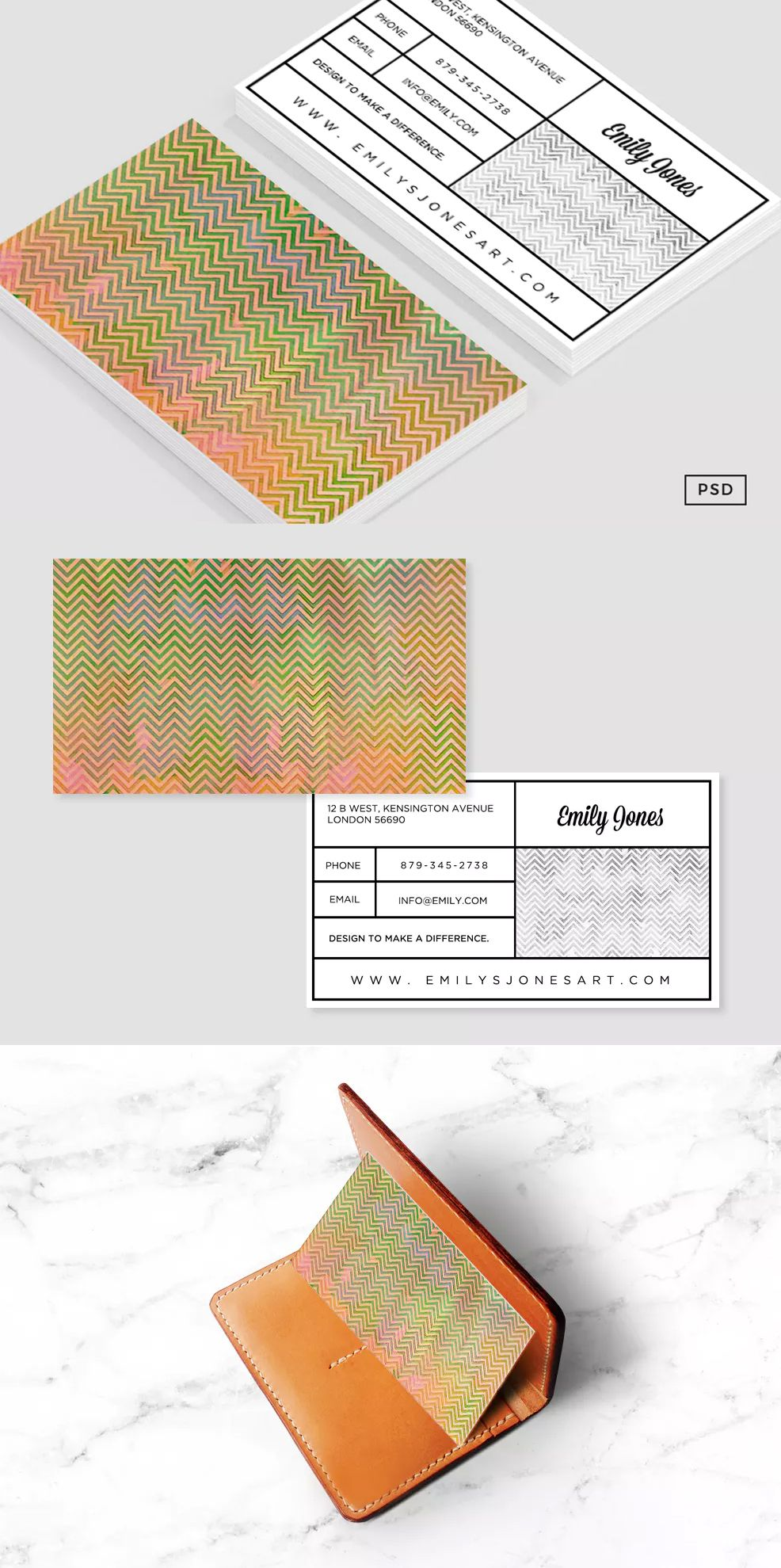 Painted Chevron Business Card Template PSD | Business Card ...